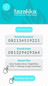 foto gambar halaman nomor kontak dan website aplikasi android google play store produk herbal tazakka