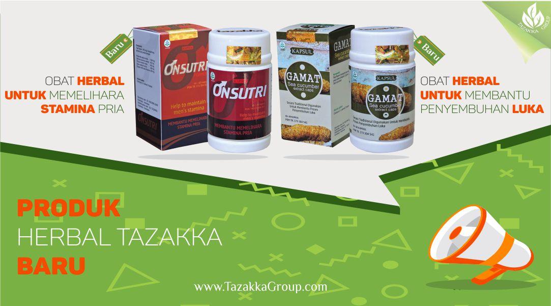 foto gambar promosi produk baru dari tazakka herbal gamat ekstrak teripang emas dan onsutri formen untuk stamina pria