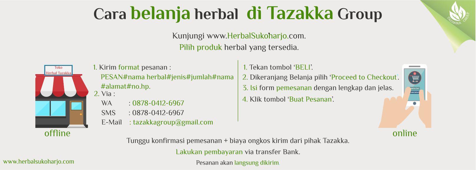 contoh foto gambar banner cara belanja produk herbal Tazakka herbal Sukoharjo secara offline dan online.