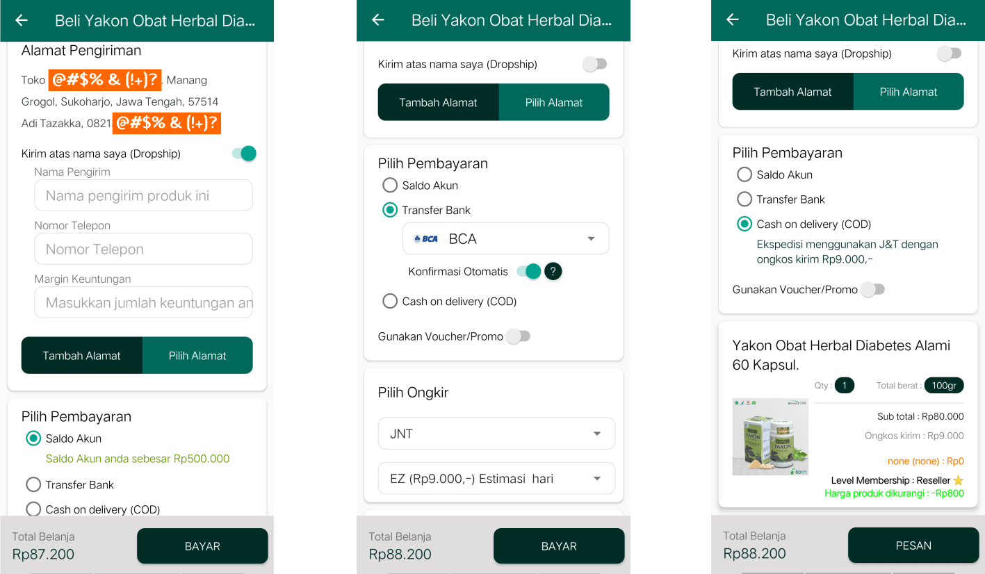 Aplikasi Android Toko Online Herbal Tazakka Halama Pemesanan Produk