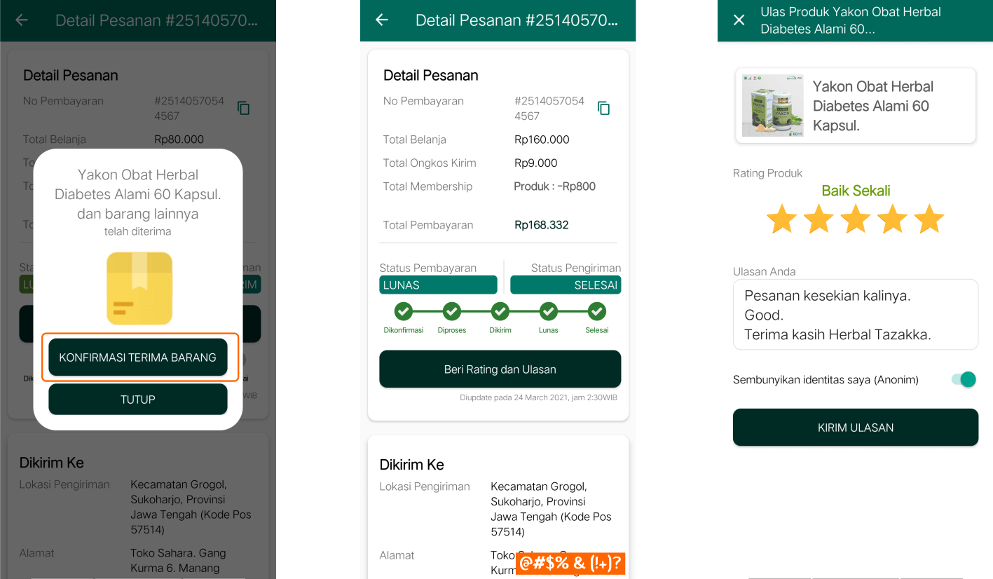 Aplikasi Android Toko Online Herbal Tazakka bisa Bayar Ditempat