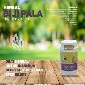 foto gambar herbal biji pala alami dari tazakka herbal sukoharjo obat untuk efek rileks insomnia susah tidur depresi stress dan galau