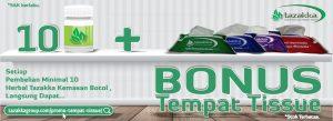 contoh gambar foto Banner website promo bonus hadiah langsung tempat tissue untuk setiap pembelian herbal botol kemasan minimal 10 pcs
