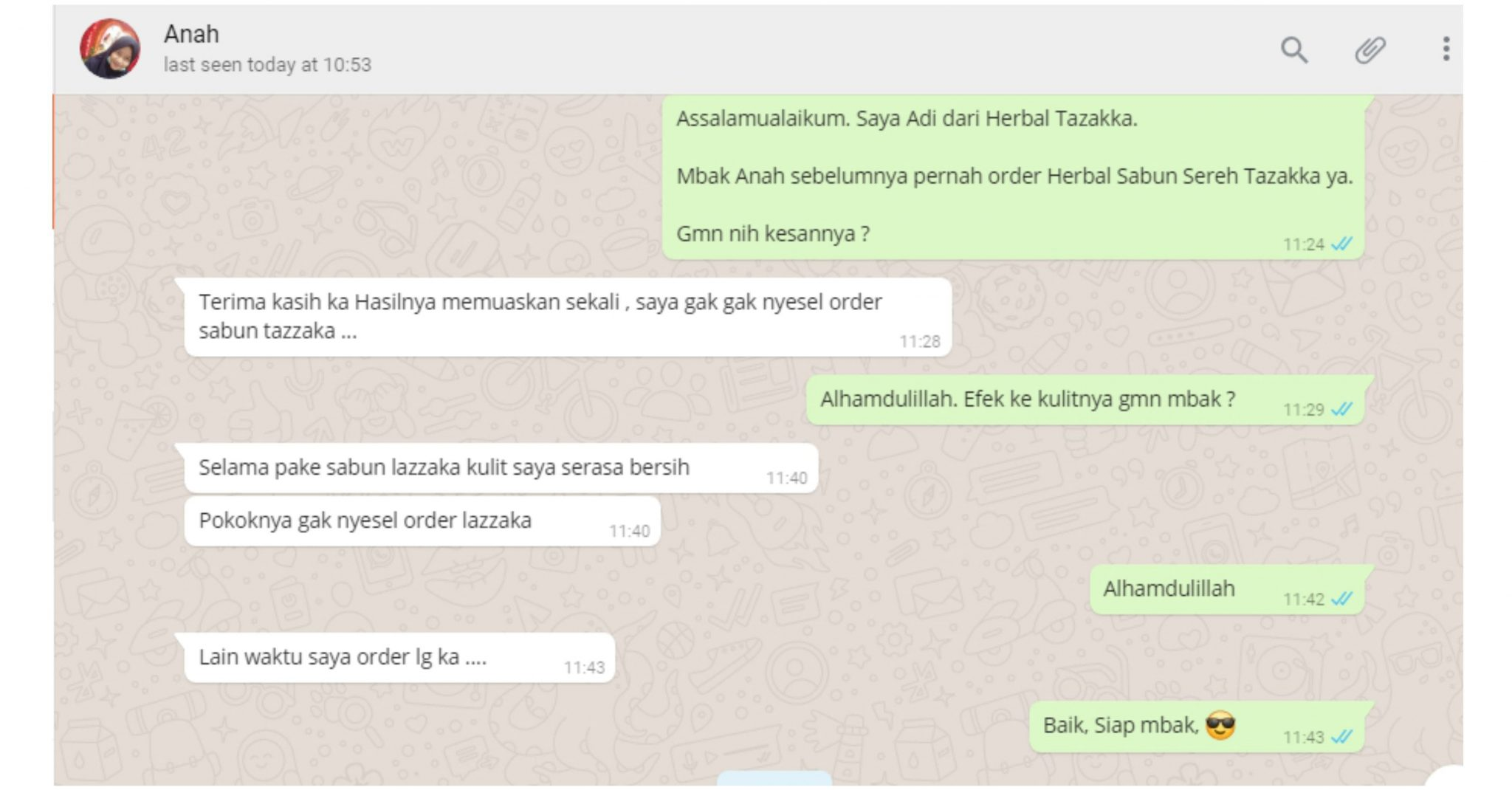 contoh foto gambar chatting wa bukti testimoni pelanggan produk sabun sereh herbal tazakka group enak dikulit terasa bersih.