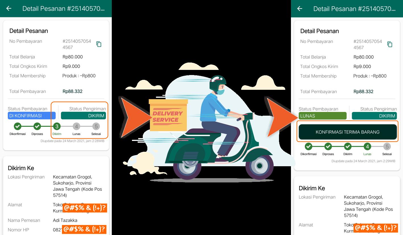 Aplikasi Android Toko Online Shop Herbal Tazakka Store Cara Lacak Tracking Pesanan.