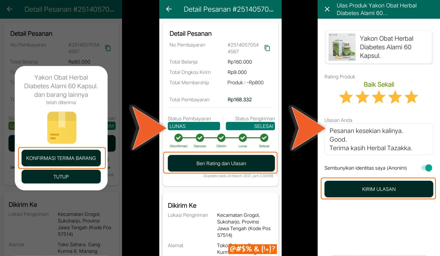 Aplikasi Android Toko Online Shop Herbal Tazakka Store Cara Membeli Ulasan Rating Review.
