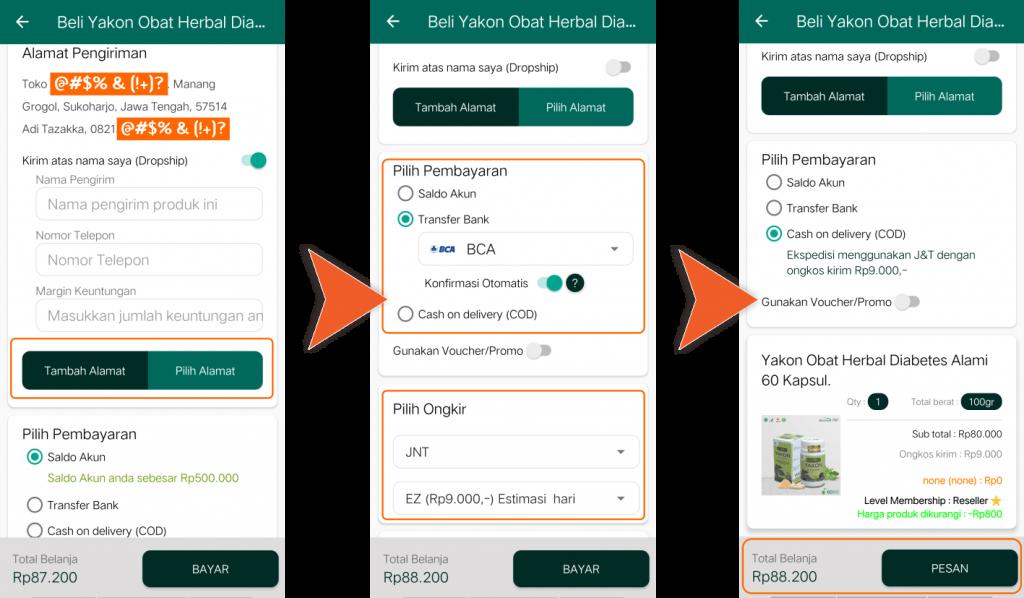 Aplikasi Android Toko Online Shop Herbal Tazakka Store Cara Membuat Pesanan