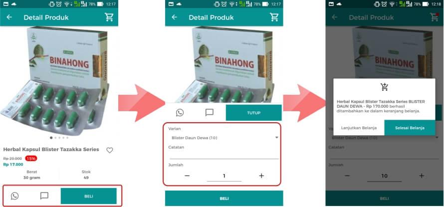 Cara Belanja Online via aplikasi jual beli online terpercaya Herbal Tazakka Store 3