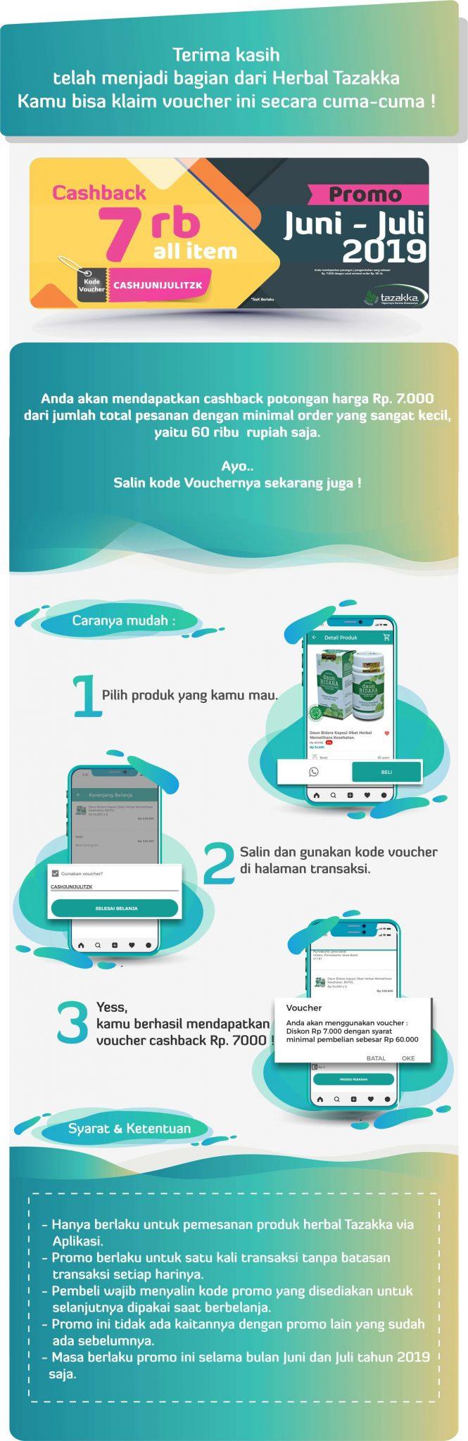 cara menggunakan kode voucher cashback belanja online herbal tazakka