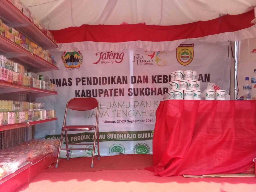 Tampak dalam, Stand Herbal Tazakka selaku perwakilan dari Kabupaten Sukoharjo pada acara pameran Festival Jamu Dan Kuliner 2019 di Cilacap - Jawa Tengah