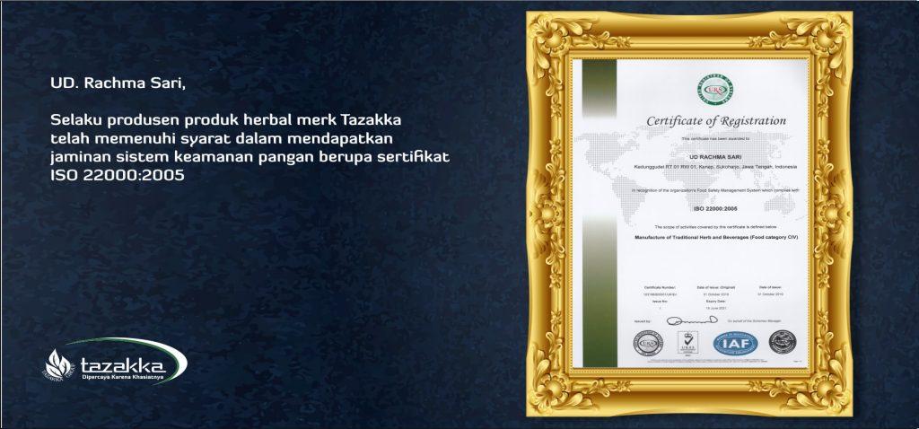 ISO 22000 herbal tazakka sertifikat keamanan pangan