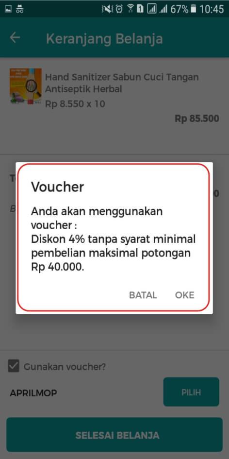 Voucher belanja online via aplikasi android herbal Tazakka