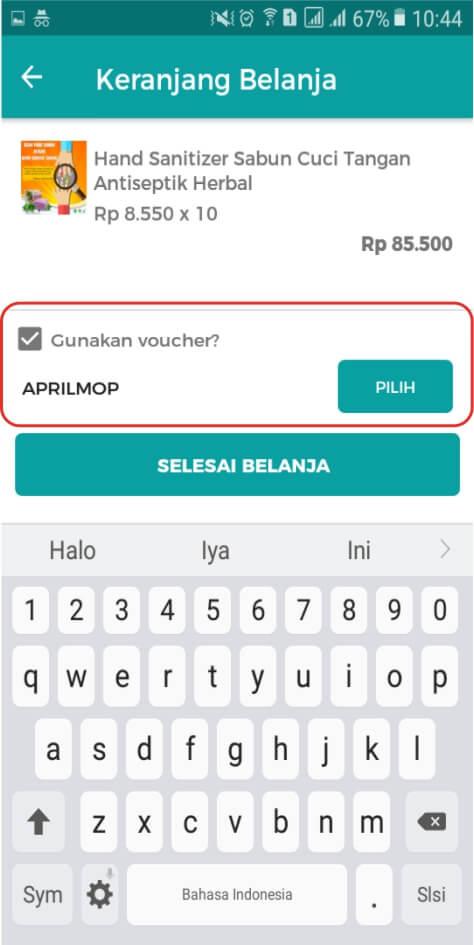 Voucher belanja online via aplikasi android herbal