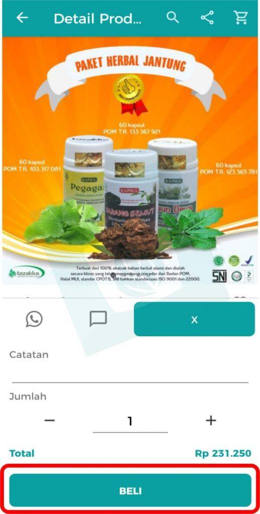 Aplikasi Toko Online Herbal Tazakka Group Halaman Beli Produk