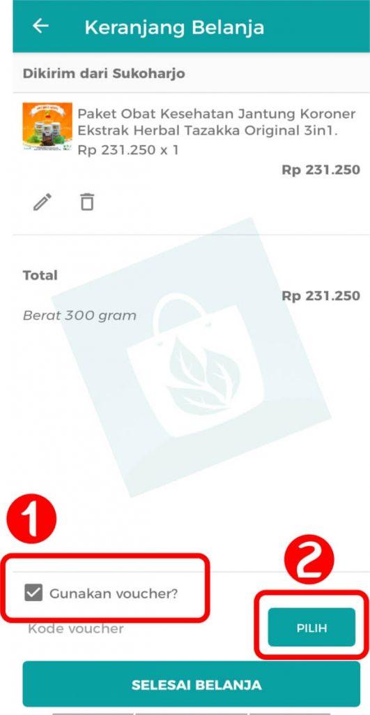 Aplikasi Toko Online Herbal Tazakka Group Halaman Keranjang Belanja