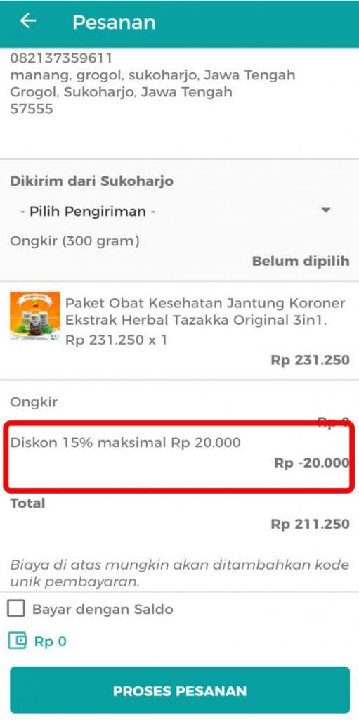 Aplikasi Toko Online Herbal Tazakka Group Halaman Rincian Belanja