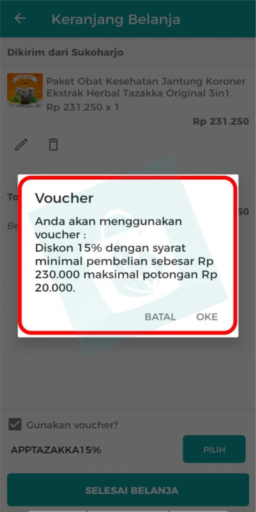 Aplikasi Toko Online Herbal Tazakka Group Halaman info voucher
