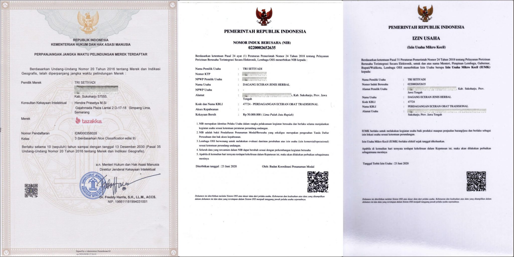 Surat Izin Usaha Herbal Tazakka